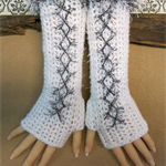 Crochet Fingerless Gloves, White Corset Wool Gloves, Arm Warmers, Gothic Glove