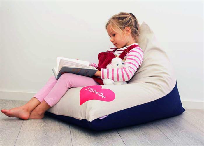 Personalised Kids Bean Bag Pink Heart Honeysuckle And