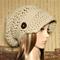 Womens Crochet Hat, Peak Cap Slouchy Beanie, Chunky Brim Womens Dark Camel
