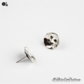 Abstract Silver Toned Button Stud Earrings