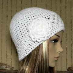 Crochet Beanie, Womens White Hat, Winter Wool Hat With Large Crochet Flower