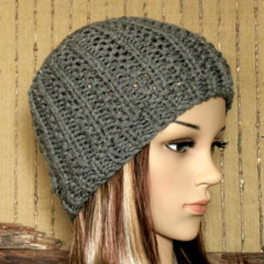 Knit Hat, Womens Hat, Wool Beanie, Skull Cap, Hand Knit Dark Grey Beanie