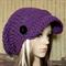 Womens Crochet Hat, Peak Cap Slouchy Beanie, Chunky Brim Womens Purple Beanie