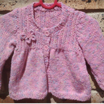 Pink fleck baby girl's jacket, size 9-12 months.