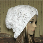 Womens Knit Hat, Cable Slouchy Beanie, Chunky White Hand Knit Beanie, Winter