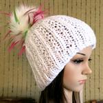 White Knit Hat, Womens Hats, Teenager Pom Pom Wool Beanie, Skull Cap, Hand Knit