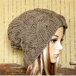 Knit Hat, Women's Hat, Men Slouchy Beanie, Chunky Cable Hat, Winter Fall, Brown