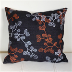 Screen printed copper and silver 'fagus' design cushion cover
