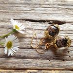 Black,Gold Sand Glass Bead Earrings
