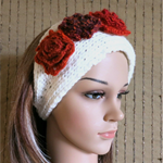 Knitted Headband, Womens Chunky Knit Ear Warmer, Crochet Flower Head Wrap, Hair