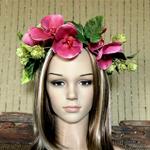 Flower Crown Headband, Bridal Wedding Flower Crown , Hippie Halo Crown, Pink