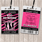 Disco Party Personalised VIP Lanyard Invitations x 10
