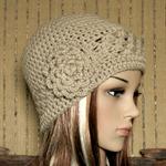 Crochet Beanie, Womens Hat, Crochet Wool Winter Hat With Large Crochet Flower