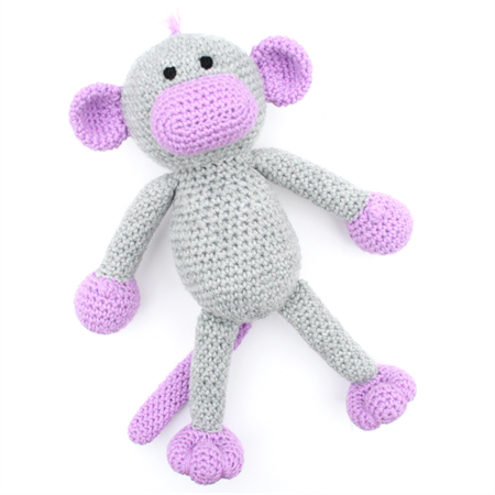 'Millicent' the Crochet Monkey - grey & purple - *READY TO POST*