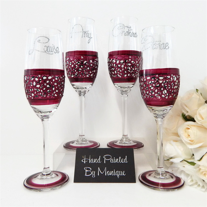 Personalised Wedding Gifts Online Australia : Bridesmaid Gifts Personalised Champagne Wedding Glasses - Lace 4 ...