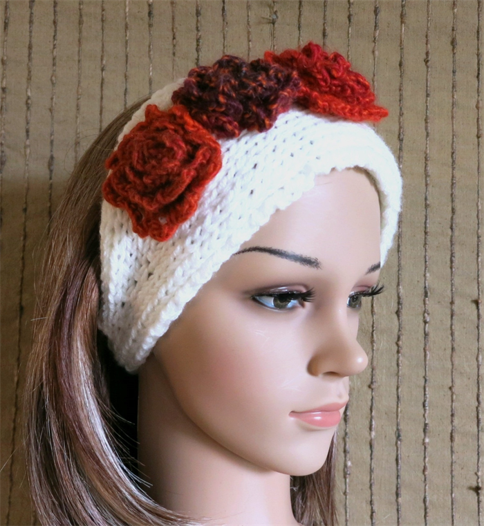 e9ca7960d1b723 Knitted Headband, Womens Chunky Knit Ear Warmer, Crochet Flower Head Wrap,  Hair | Nchanted Gifts | madeit.com.au