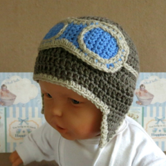 Baby Beanie, Crochet Toddlers Aviator Beanie , Crochet Newborn Beanie Baby Photo