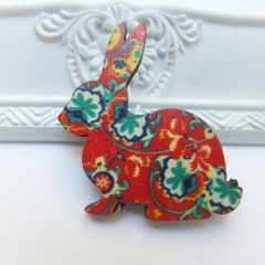 Red Vintage Floral Wooden Rabbit Brooch