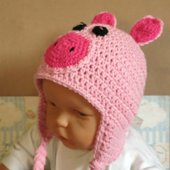 Baby Beanie, Crochet Toddlers Piggy Beanie , Crochet Newborn Beanie Baby Photo