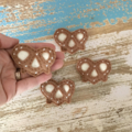 Pretzel felt hair clip, savoury, fun accessory for a girl, brown