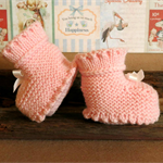 Knitted Booties, Pink Chunky Baby Shoes, Newborn Girls Wool Hi Tops, Baby Shower