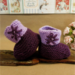 Baby Knitted Booties, Purple Flower Baby Shoes, Baby Photo Props, Hi Top Booties