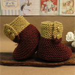 Knitted Booties, Brown Tan Baby Shoes, Newborn Boys or Girls Wool Hi Tops, Baby