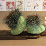 Knitted Booties, Green Brown Baby Shoes, Newborn Girls Wool Hi Tops, Baby Shower