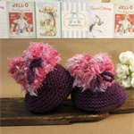 Knitted Booties, Purple Pink Baby Shoes, Newborn Girls Wool Hi Tops, Baby Shower