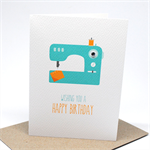 Birthday Card Female - Turquoise Sewing Machine - HBF155