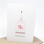 Birthday Card Female - Hanging Birdcage - HBF154