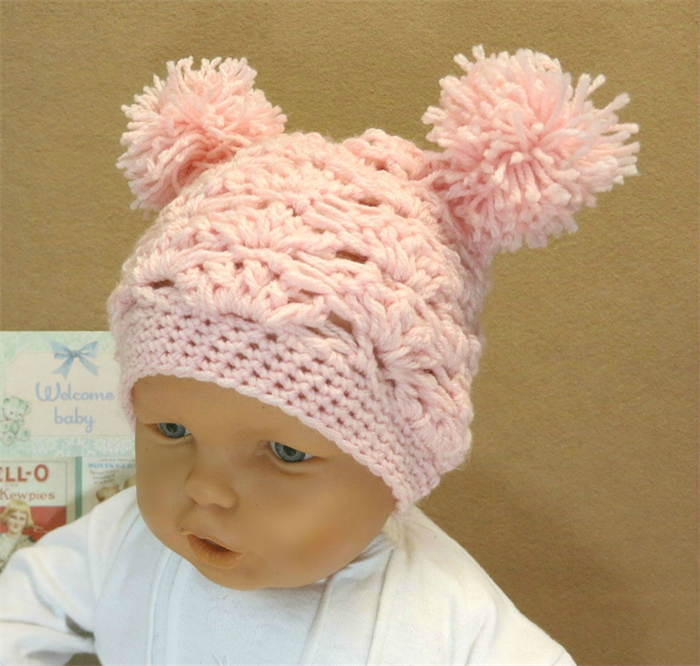 Crochet Baby Girl Hat with Pom Poms 4c220cdfe0e