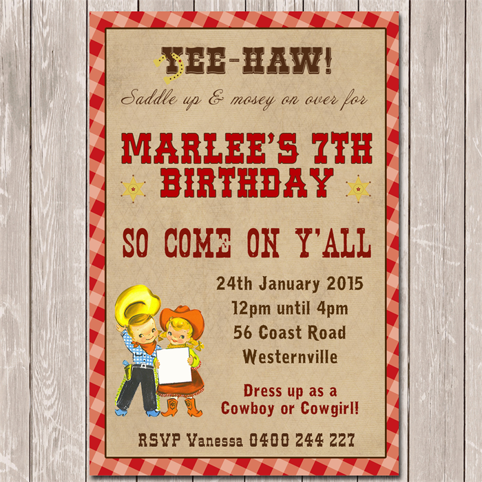 Vintage Cowgirl Cowboy Personalised Birthday Invitation
