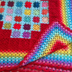 Crochet Rainbow Heart Blanket