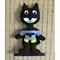 Toy Batman, Stuffed Felt Super Hero, Nursery Toy, Baby Shower Gift, Black, Grey