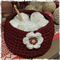 HANDMADE... Crochet Basket 'Dark Red'  READY NOW...