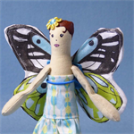 Miniature Butterfly Cloth Doll in Pale Blue, Mint and Yellow