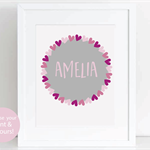 Personalised Girl's Room Print, Baby Girl Nursery Print