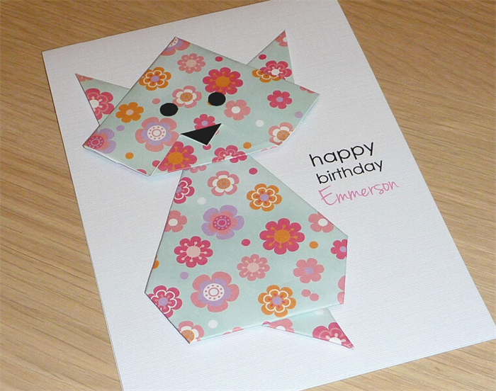 Girls Happy Birthday Card Origami Cat Can Be Personalised