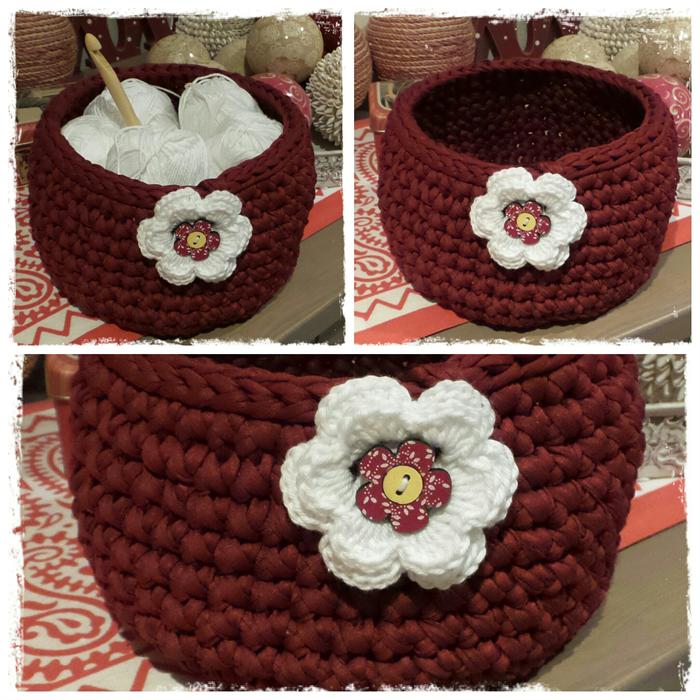 Handmade Crochet Basket : Handmade crochet basket dark red ready now miss