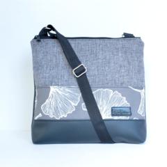 Large size 'Jodi' bag. Black vinyl, light grey fabric with ginkgo feature strip.