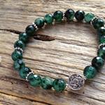 Green Emerald Gemstone & Tibetan Bead Bracelet