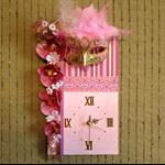 Unique Wall Clock, Venetian Mask Wall Art, Pink Home Decor Modern Contemporary