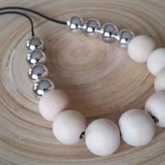 Silver and Natural Wood Beaded Necklace