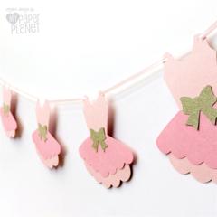 Ballerina Tutu Party Banner. Baby girl, Birthday, Baby shower. Pink & Gold.