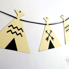 Teepee Tent Garland in Cream & Black. Baby shower or birthday party, banner.