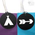 Teepee Arrow Gift Tags Wilderness party. Black & white. Monochrome. Boho, tribal