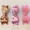 Mini Bow Hair Clip Set - 100% Merino Wool - Glitter Fabric Pink Champagne Blush