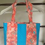 Medium teal/orange tote bag