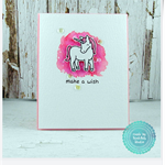 Pink Unicorn - Make a Wish - Watercolored Greeting Card - Happy Birthday